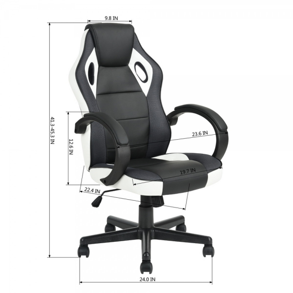 Racing Style Leather Gaming Chair Ergonomic Swivel