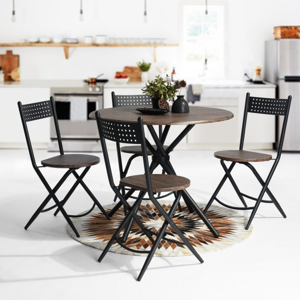 Of Set Chairs 4 Brownfoldingdining: 5 Pieces Kitchen Dining Set Brown Table & 4 Matching